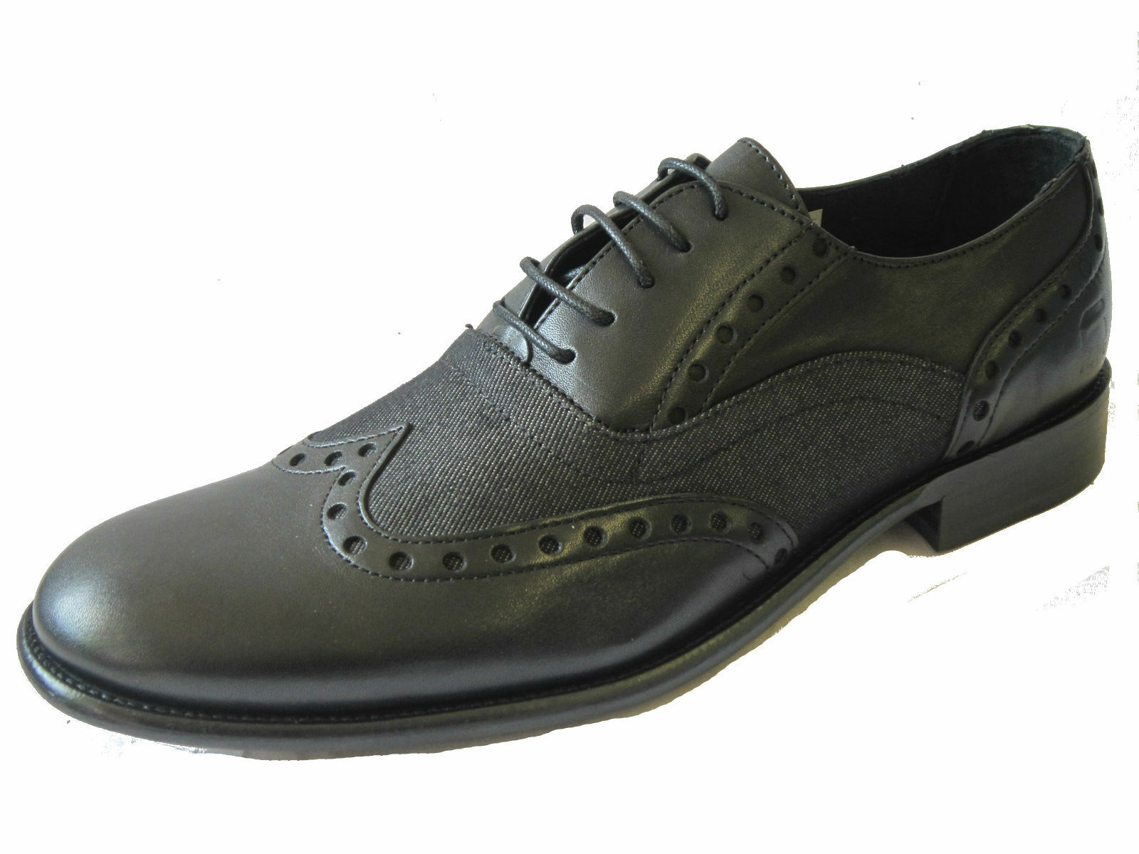 Para Hombre G-star Raw Negro leather/denim los zapatos