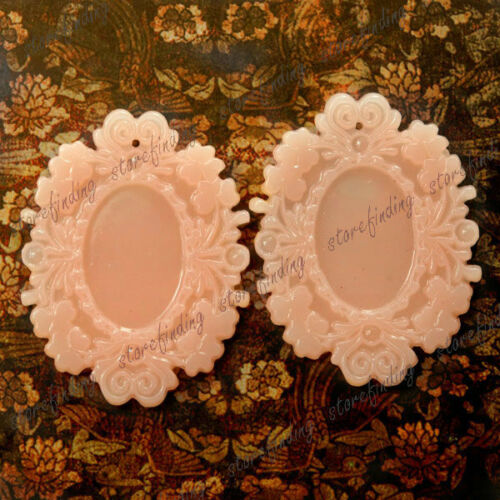Flatback Oval Flowers 48.5x37mm Vintage Cameo Resin Cabochon Settings RB0593