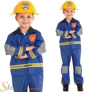 Boys Blue Fireman Firefighter Book Week Fancy Dress Costume Hat Ebay