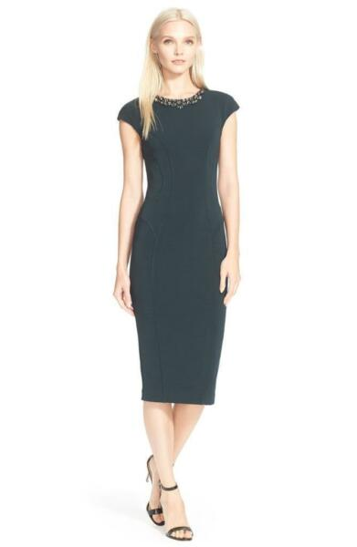 a4f51283344c5 Ted Baker  dardee  Embellished Crystal Collar Body-con Midi Dress Green 0  US 2 for sale online