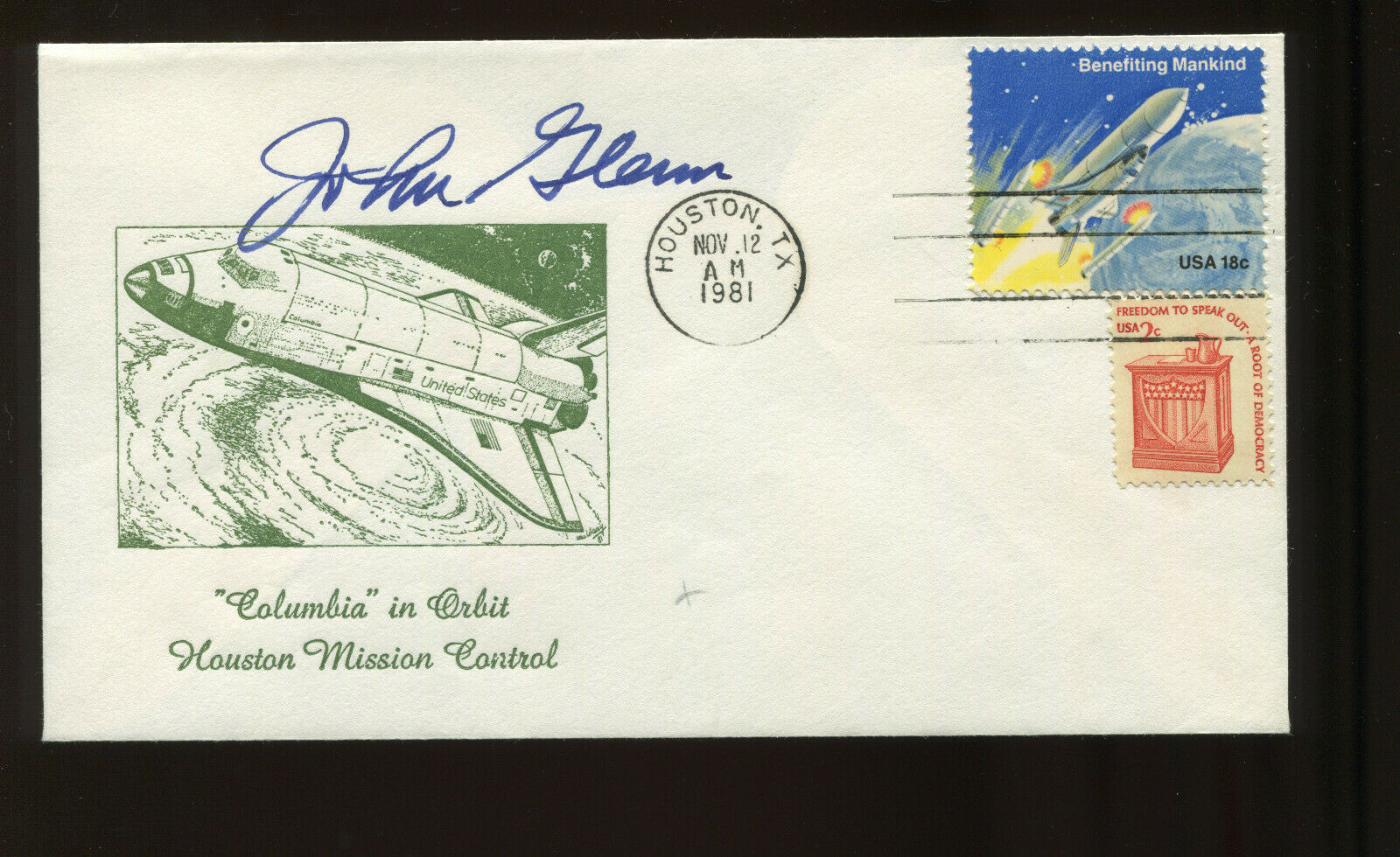 s l1600 - Astronaut JOHN GLENN Signed on NOVEMBER 12, 1981 Columbia STS-2 Launch DAY Cover