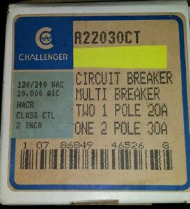 CHALLENGER A22030CT quad breaker 2 1 pole 20 1 2 pole 30