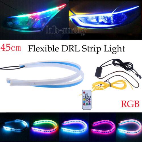2Pcs 45CM Car RGB LED Flexible Slim Strip Lights Headlight DRL Flow Turn Signal