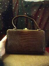 Vintage Brown Crocodile Frame Bag. 1940s 1950s Retro Patent Handbag Chic Purse