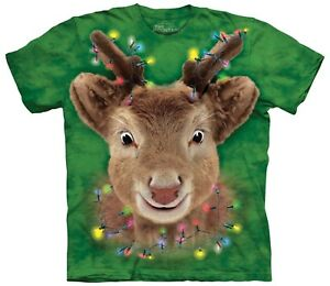 The-Mountain-Brand-Reindeer-Lights-Rudolf-Ugly-Christmas-Sweater-T-Shirt-Green
