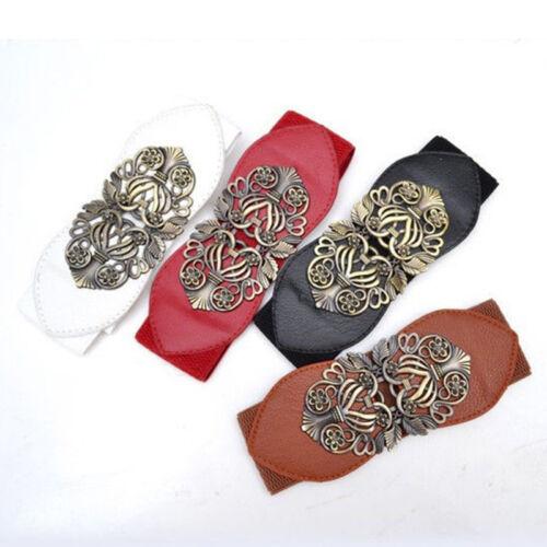 Ladies Leather Wide Waist Belts Dress Up Buck Stretch Corset Cinch Waistband UK