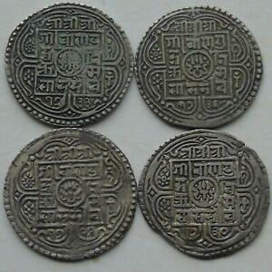 4 x Nepal Silver Mohar Girvan Yuddha KM#529 C1799-1816 Nice Grades, a)