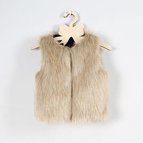 Kids Girls Toddler Warm Winter Outwear Coat Sleeveless Faux Fur Jacket Cardigan