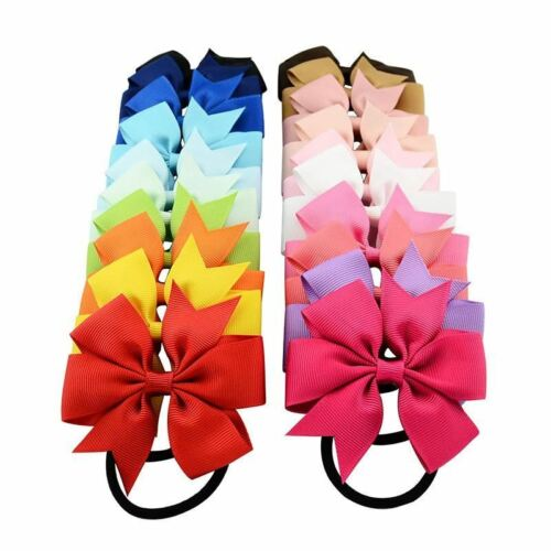 20pcs//Lot Grosgrain Stretch Hair Bow Ties Rope Ring Band Ponytail Holder Flower