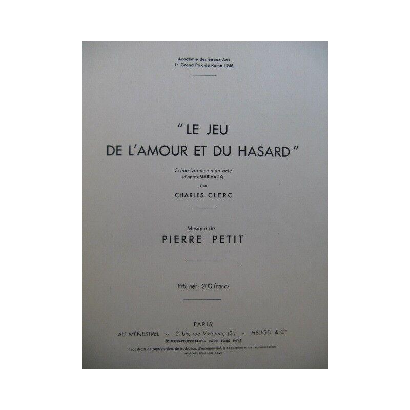 PETIT Pierre Le Jeu de l'Amour et du Hasard Chant Piano 1946 partition sheet mus