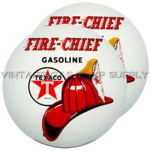 "Pair of Texaco Fire Chief 13.5"" Gas Pump Lenses (G195)"