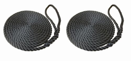 2 x 8 MTS OF 16MM BLACK SOFTLINE MOORING ROPES / WARPS / LINES BOATS