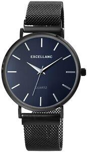 Excellanc-Herrenuhr-Blau-Schwarz-Meshband-Analog-Metall-Armbanduhr-X2300012002