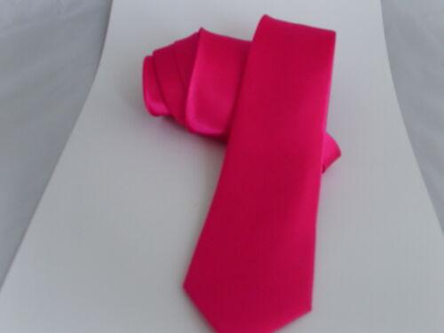 "3.3/"" = 8cm ou skinny 2.5/"" = 6cm Homme brillant rose chaud polyester tie-cravate-classic"