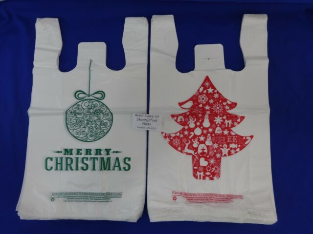 100 Christmas Tree &  100 Green Holiday Ball Plastic T-Shirt Bags Handles
