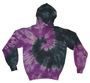 TIE-DYE-HOODIE-Black-amp-Purple-Spiral-Hipster-Tye-Die-T-Shirt-Festival-Rainbow