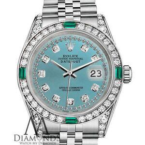 Unisex Rolex 36mm Datejust diamante blu ghiaccio colore Emerald Jubilee Braccialetto Orologio