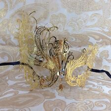 Gold China Swan Elegant Metal Laser Cut Venetian Halloween Ball Masquerade Mask