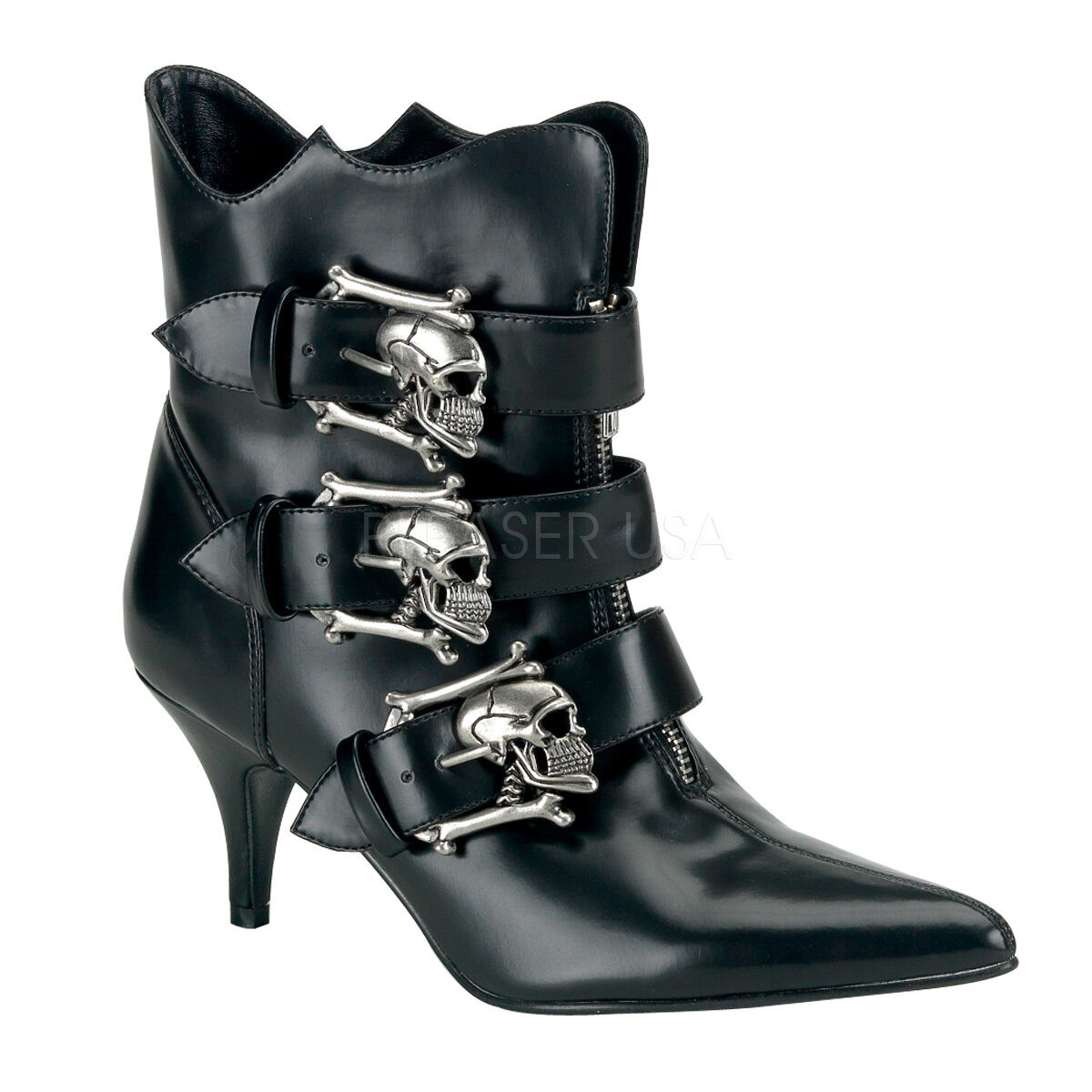 DEMONIA FURY-06 Sexy Black Skull Buckle Strap Low Heel Gothic Punk Ankle Boots