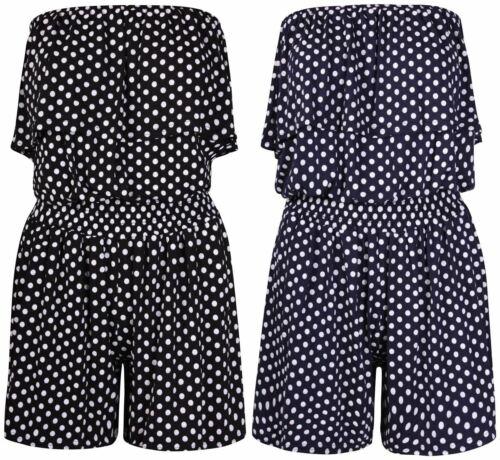 Womens Off Shoulder Polka Dot Frill Top Boob tube Palazzo leg Jumpsuit// Playsuit