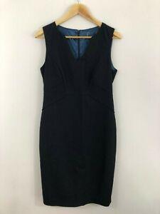 Womens-Dress-Size-10-12-Navy-Blue-Dots-Straight-Stretch-Sheath-Work