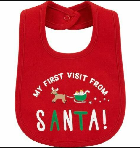Carter/'s First Christmas Teething Bib Santa Reindeer Waterproof Brand New