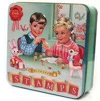 Vintage Style Alphabet Stamp Set & Ink Tin Box Retro Toy Wu & Wu Toy