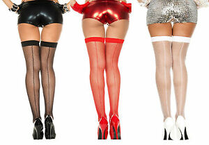 Plus-Size-FISHNET-Thigh-High-BACKSEAM-Stockings-OVER-THE-KNEE-School-Girl-QN