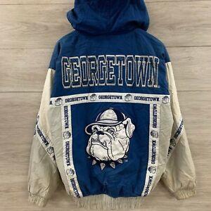Vintage-Distressed-Georgetown-Hoyas-NCAA-Full-Zip-Hooded-Bomber-Jacket-Sz-Medium