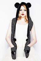 Hell Bunny Black & White Polka Dot Bear Pvc Heart Marvel Hat