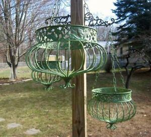 Set-of-3-Victorian-Hanging-Planters-Wrought-Iron-Green-Finish