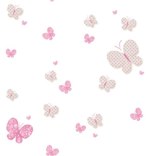 4,87 €//1qm Enfants Papier Peint Papillon Blanc Pink babylandia 005458