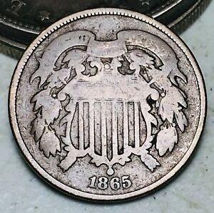 1865 Two Cent Piece 2C Ungraded Civil War Date Fancy 5 US Copper Coin CC7147