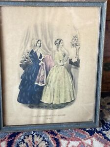 Godey's Americanized Paris Fashions 1848 Old Framed Art Print Lithograph 4I05