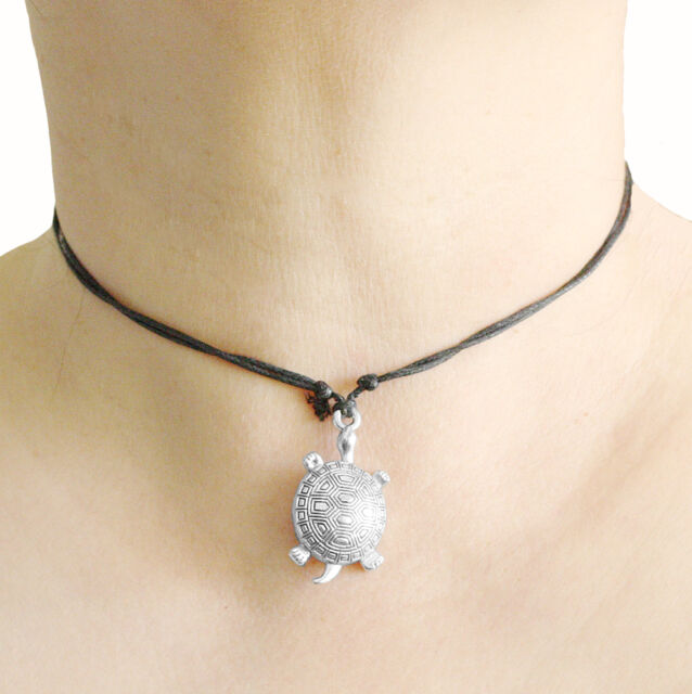 Turtle Charm Pendant Choker Necklace with Black Cord