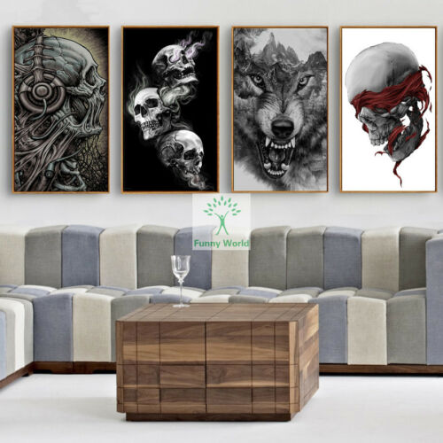 Full Diamond 5D Full Diamond Painting DIY Skull And Wolf Cross Stitch Home Craft