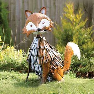 Image Is Loading Vintage Metal Nodding Fox Garden Sculpture Statue  Decorative