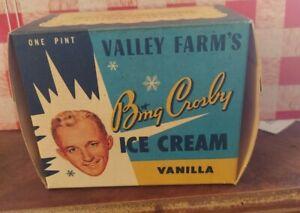 Vintage Valley Farm's Ice Cream Carton 1953. Bing Crosby, Hollywood, CA.