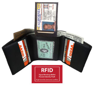 BLACK-RFID-SIGNAL-BLOCKING-LEATHER-MENS-THIN-TRIFOLD-WALLET-ID-CARDS-FLAP-TOP