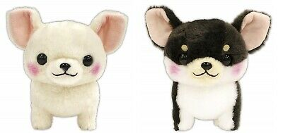 AMUSE Plush Doll dog Muchimu Chihuahua Chiwami Black x White Japan NEW