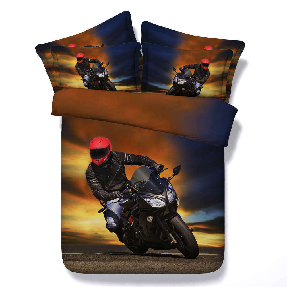 Motorcycle Racer 3D Printing Duvet Quilt Doona Covers Pillow Case Bedding Sets