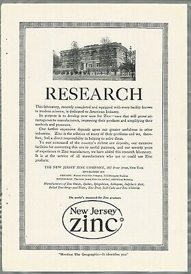 1919 New Jersey Zinc Advertisement 1910-19 New Research Laboratory Building Various Styles Collectibles