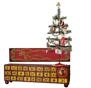 Image Is Loading Vintage Christmas Wooden Countdown Advent Box Tree Ornaments