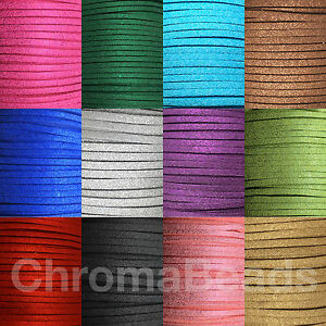 Glitter-Faux-Suede-Cord-3mm-x-1-5mm-choice-of-13-colours-choose-length