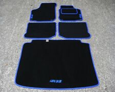 "Car Mats in Black/Blue to fit VW/Volkswagen Golf Mk4 + Boot Mat + ""R32"" Logos"