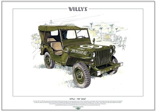 Willys MB /' Jeep /' 2nd Guerre Mondiale A3 Taille Imprimé Beaux-Arts