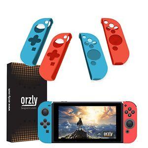 Funda-de-Orzly-paquete-de-cuatro-para-Interruptor-de-Nintendo-alegria-con-controladores-Azul-Rojo