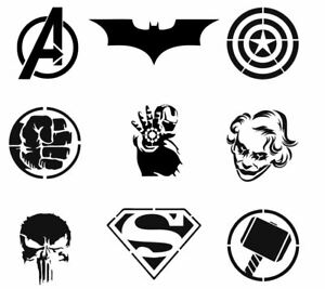 SUPER HERO Stencil template CRAFT ART ALL SIZES A7 - A4 RE-USABLE OPT. NAME