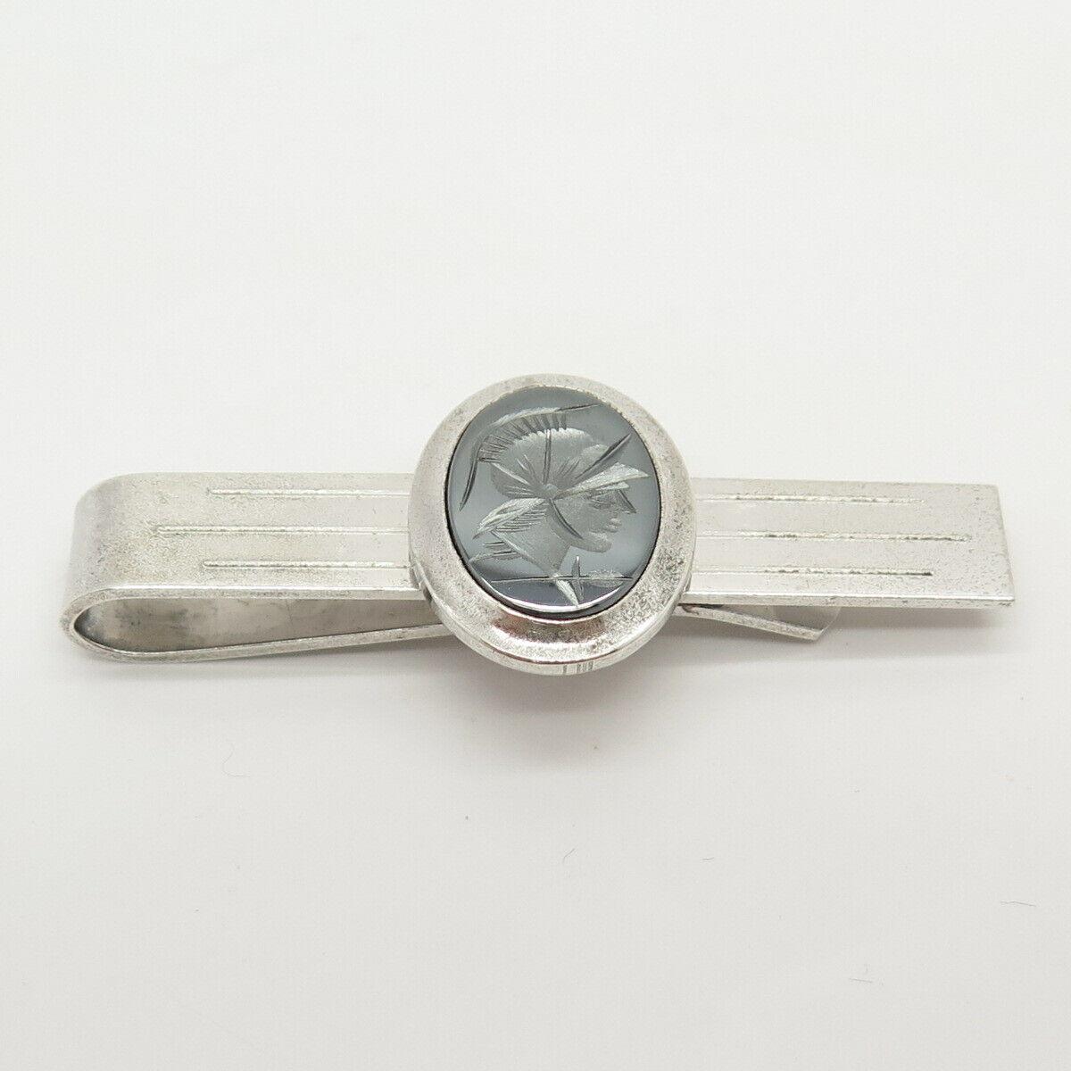 925 Sterling Silver Vintage Wells Real Hematite Gem Warrior Design Tie Clip
