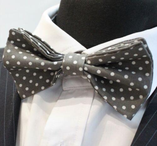 Bow Tie.UK Made Cotton Premium Quality Pre-Tied. Dark Grey // White Polka Dot